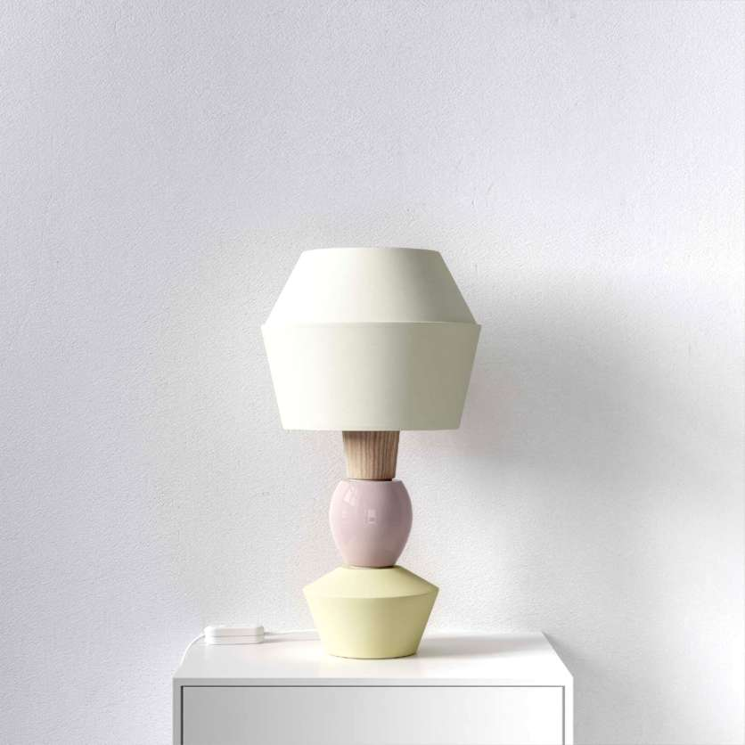 Modular table lamp with cream-coloured lampshade