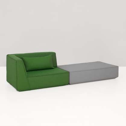 2-seater sofa with ottoman in green and grey