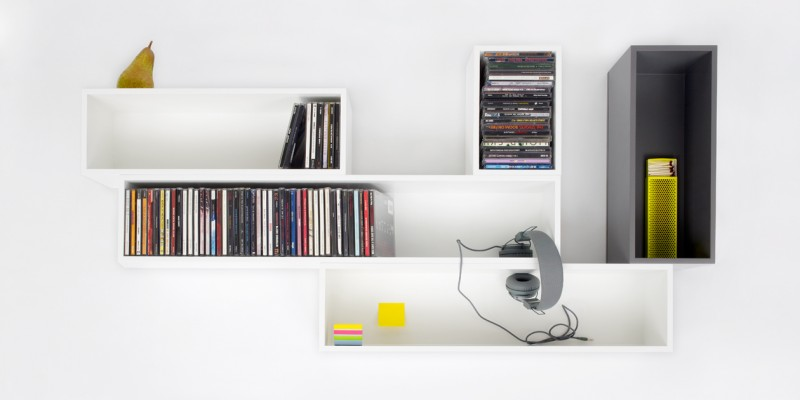 Modular shelving for CDs in white