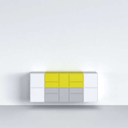 Sideboard with doors in white, yellow, and grey