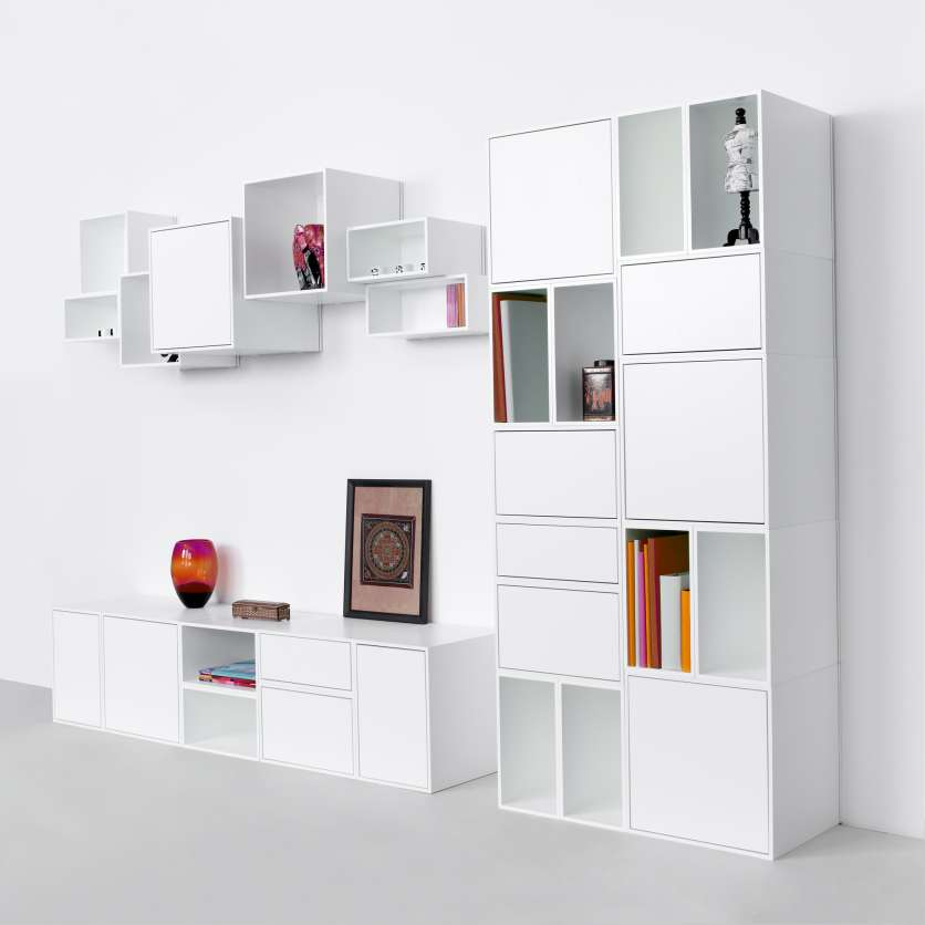 TV and stereo shelving unit in white