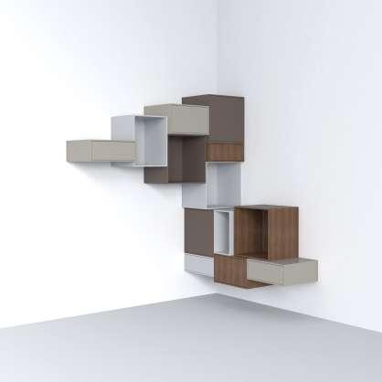 Modular corner shelving with high-quality walnut veneer modules