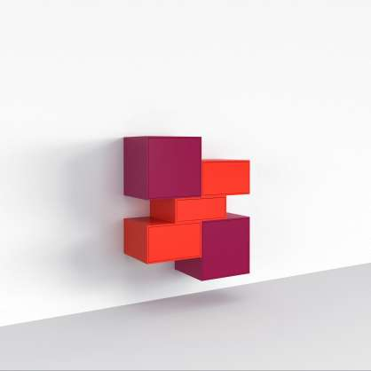 Modular shelving system in a colourful design