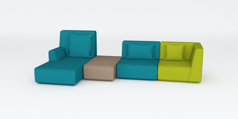 3-seater as L- shaped sofa with strong lines