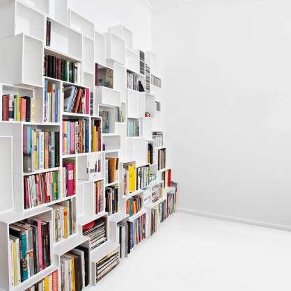 Bibliothèque cube modulable blanche au design moderne