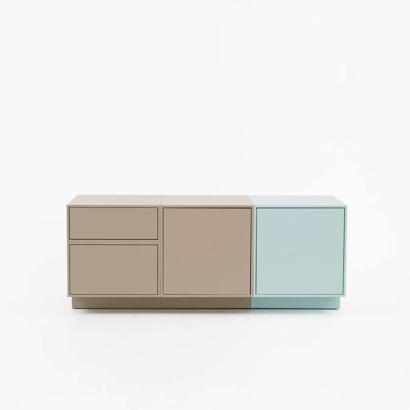 Modulardesigner sideboard 1.2 m with plinth in shades of pastel