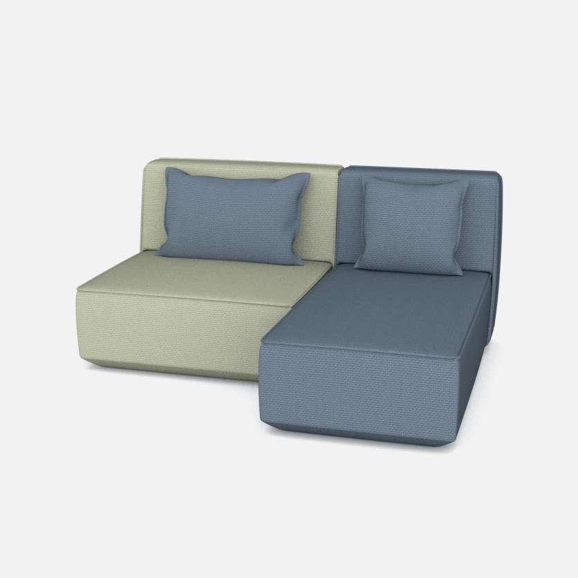 Relaxing duett: 2-seater as chaise lounge