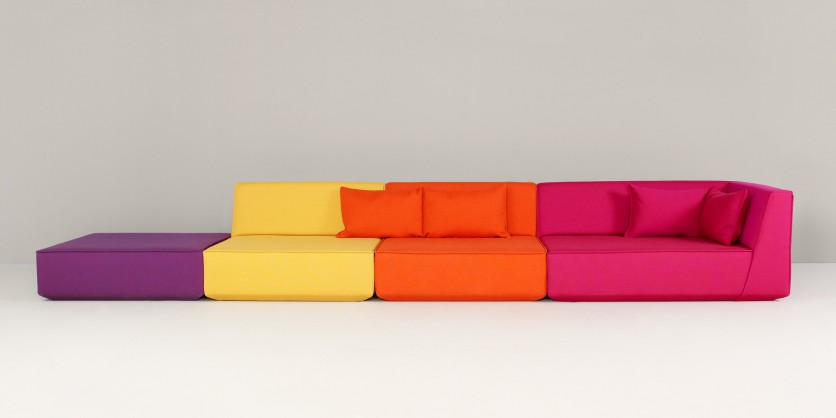 Extra-long sofa made up of four modules
