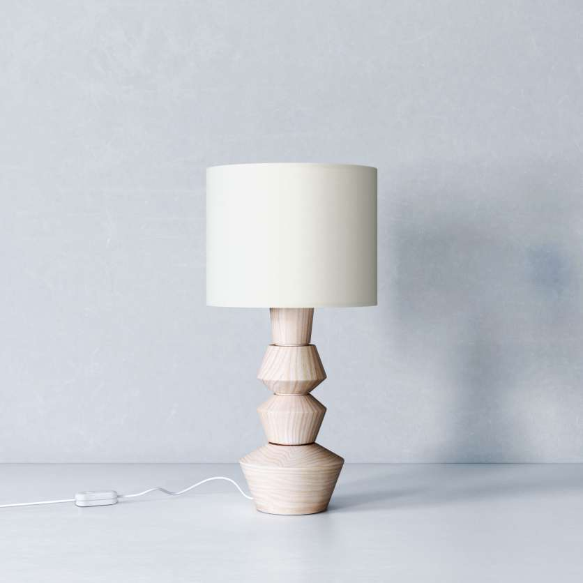 Table lamp made of ash with cream-coloured lampshade