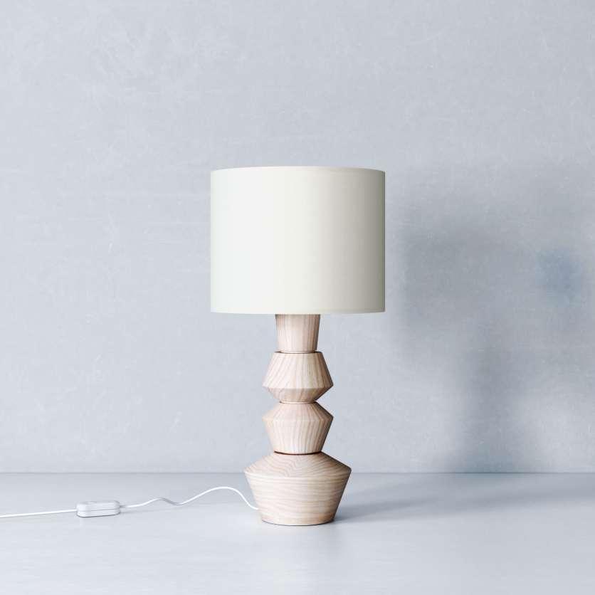 Lampe scandinave en bois avec abat-jour blanc