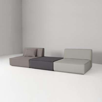 Plain 3-seater sofa in three shades of grey