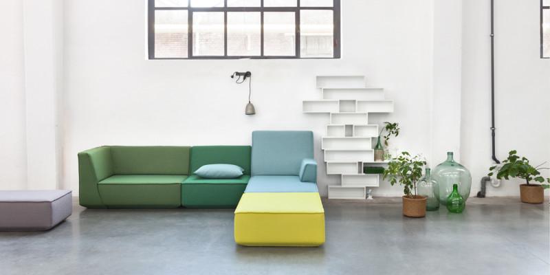 Sofasystem in Pastelltönen