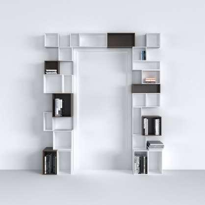 Système d étagères pratique blanc et gris