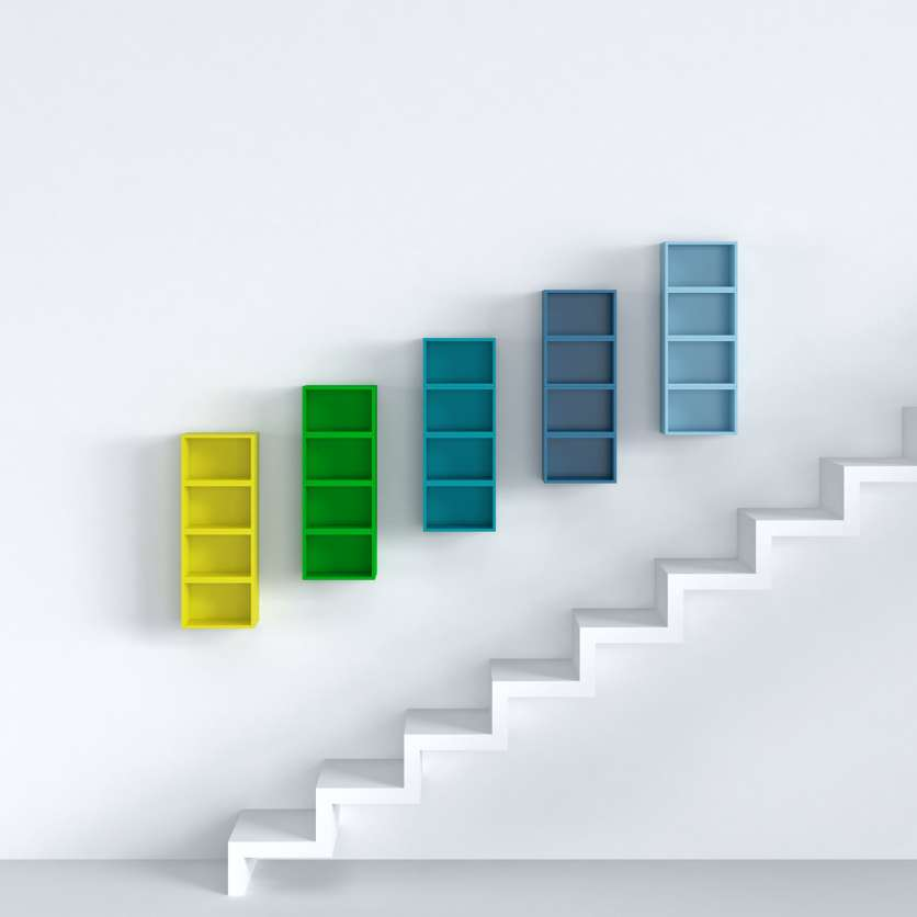 Colourful shelving system for CDs