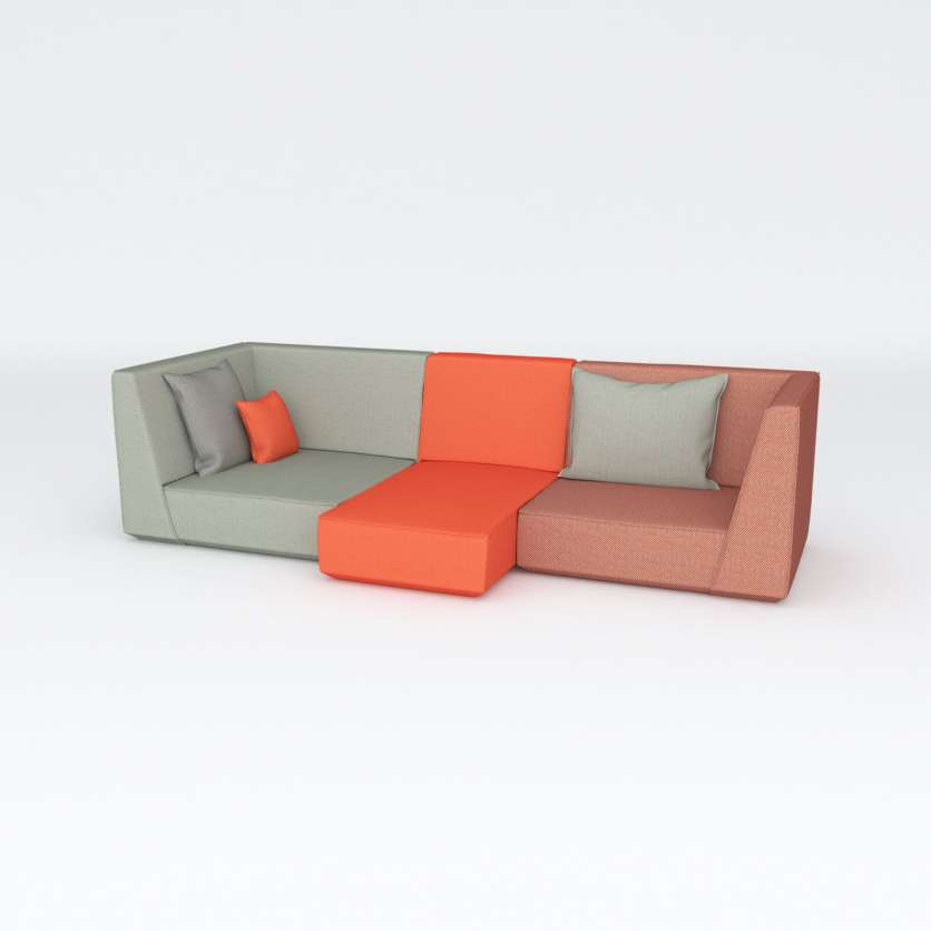 Modular 3-seater sofa with wow effect