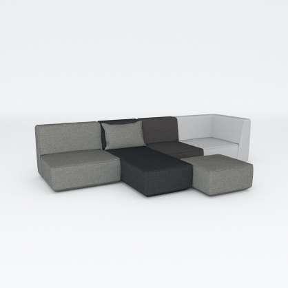 Graue Sofagruppe mit Récamière und flexibler Verlängerung