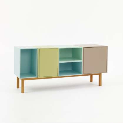 Sideboard composed of open and closed modules with base frame