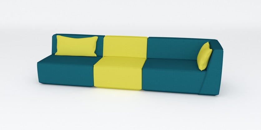 3-seater sofa in sun yellow and emerald green