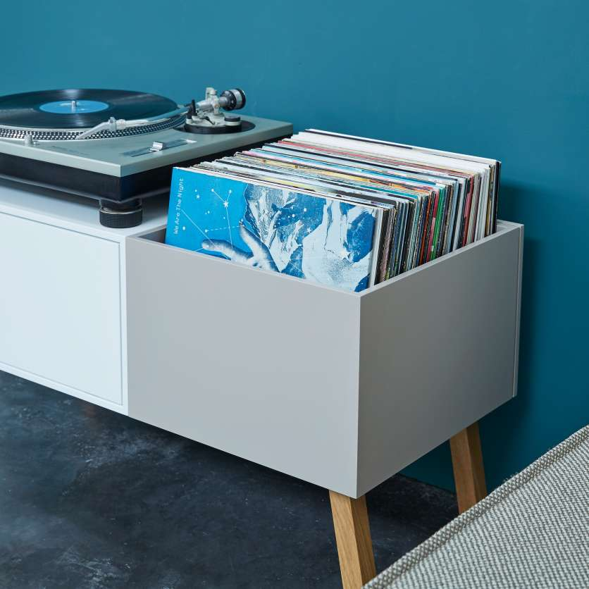 Sideboard with turntable and LPs