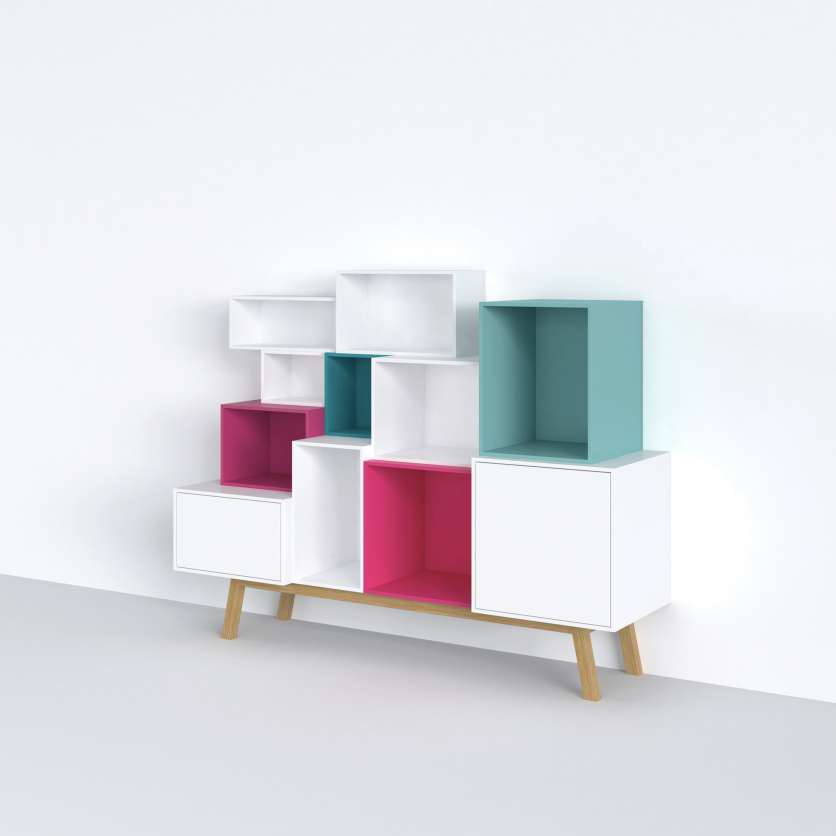 Pink, blue, and white modules as an individual sideboard creation