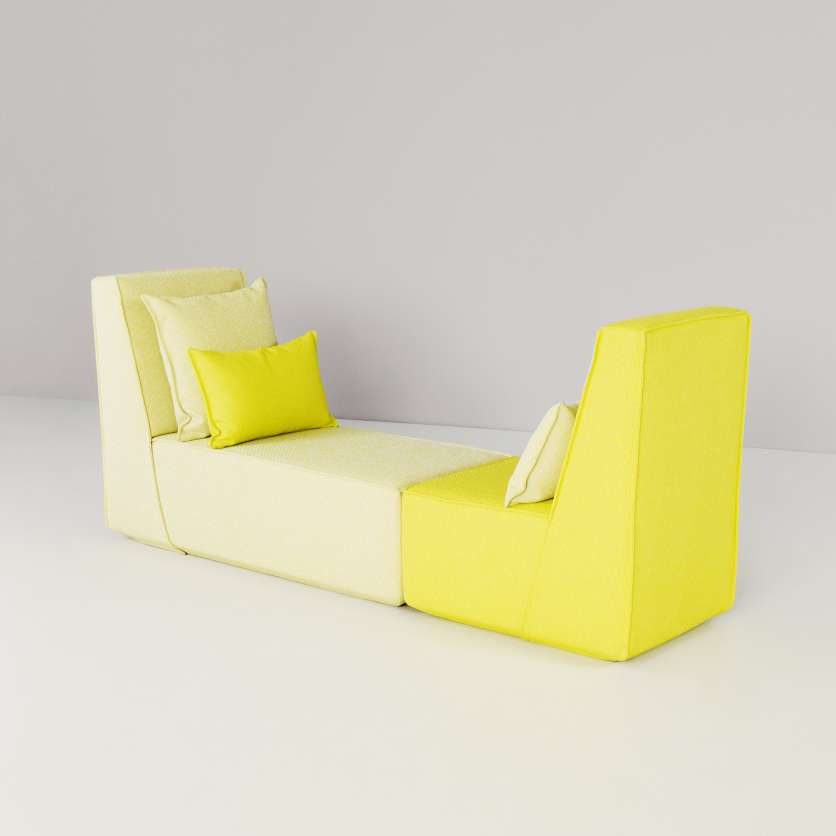 Daybed with a slanting silhouette
