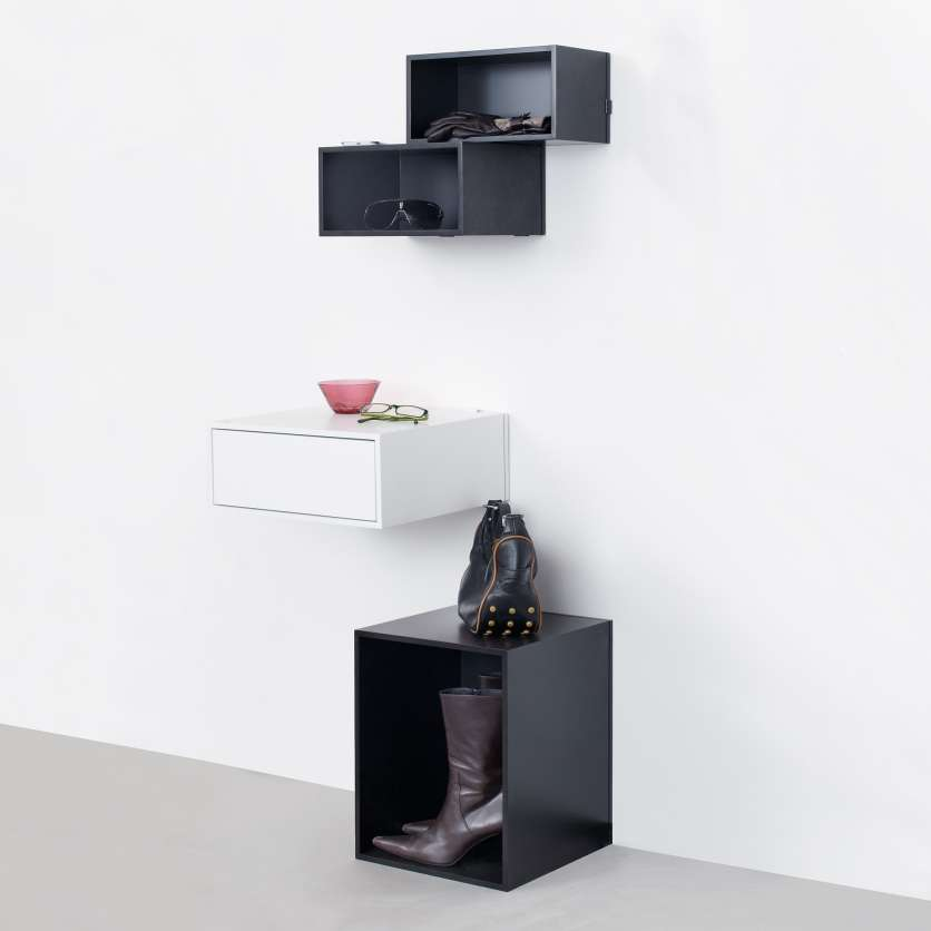 Adaptable storage in black and white