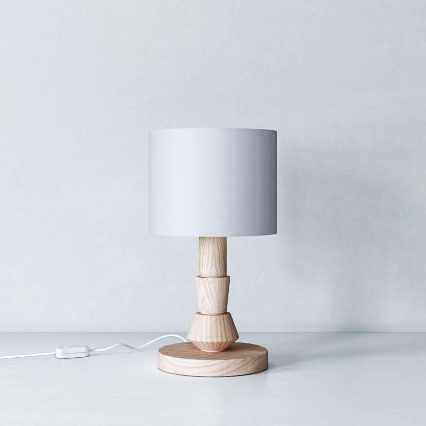 Bedside lamp in waxed ash and with grey lampshade