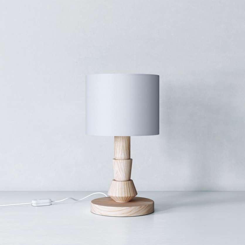 Lampe avec abat-jour gris et corps en bois
