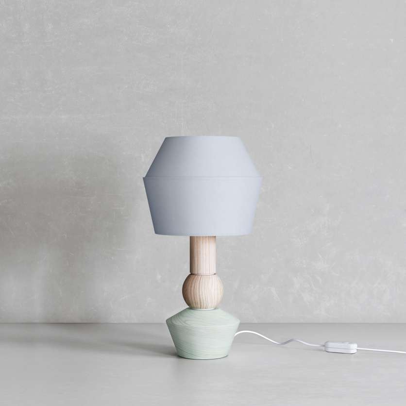 Modular table lamp with light green varnished base