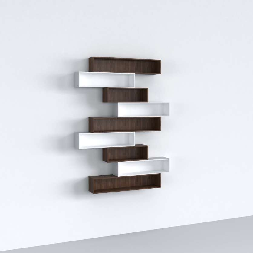 CD shelving in white and brown