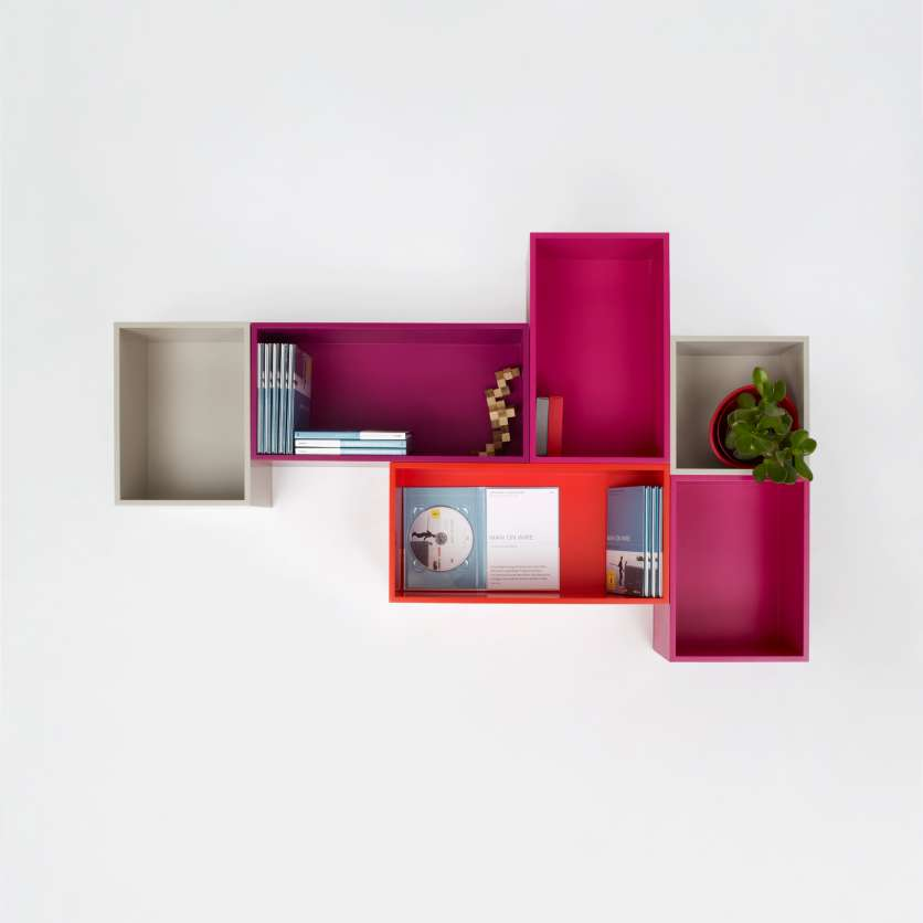 Wall-mounted, colourful Blu-ray and DVD shelving