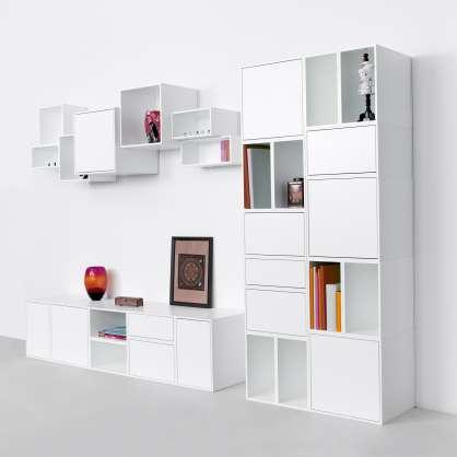 TV– und HiFi Wand in Weiß