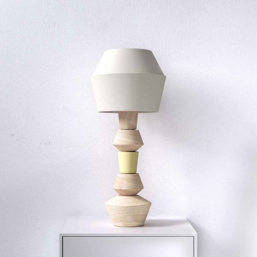 Modular table lamp with turned ash elements