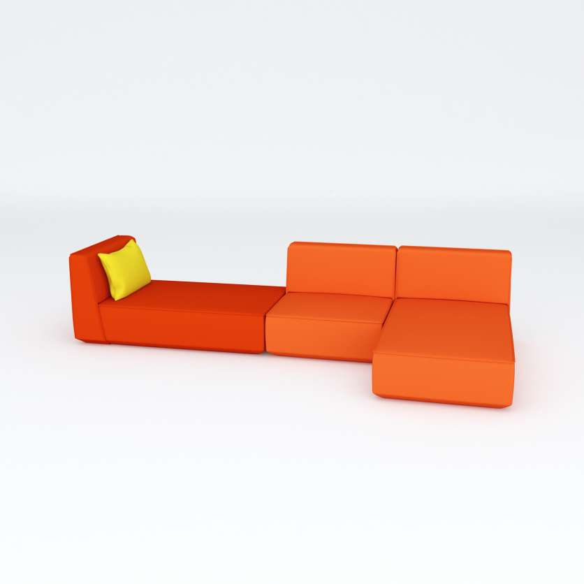 Oh, orange! L shaped sofa as a 3-seater
