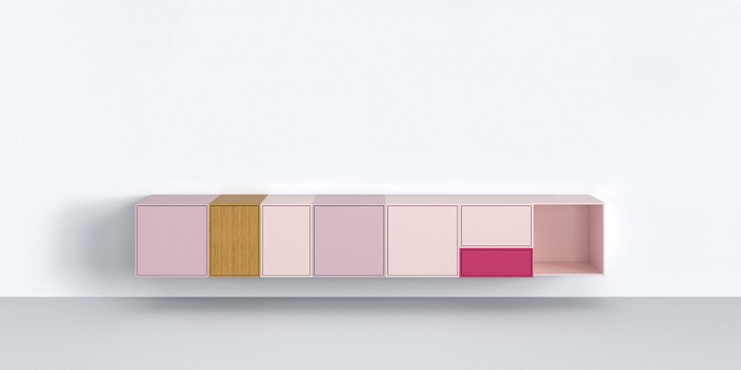 Clean and straightforward: wall-mounted low sideboard in shades of pink
