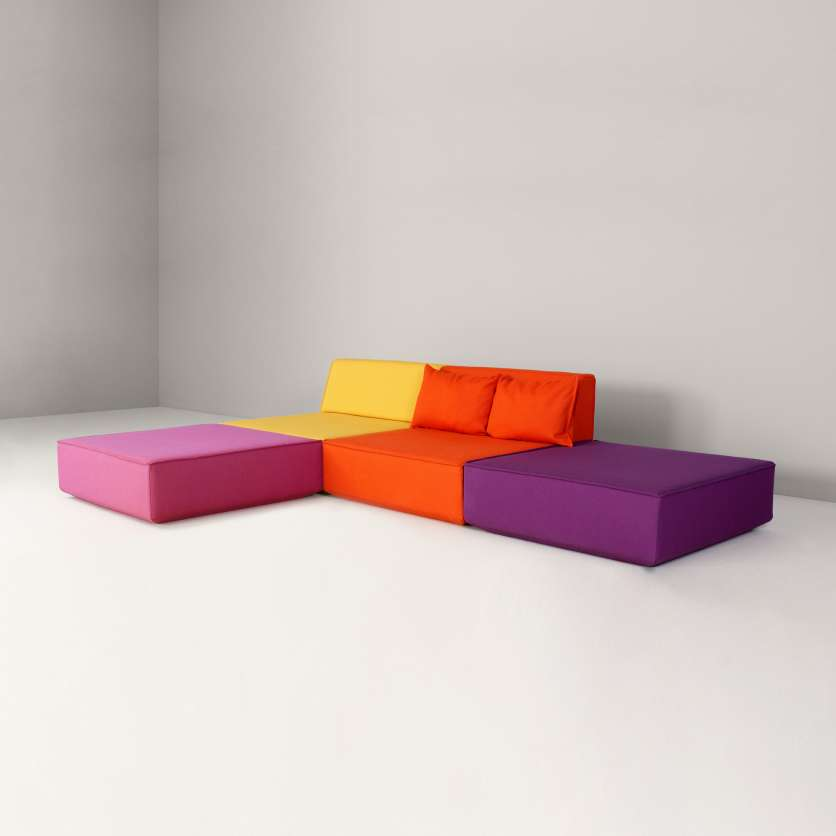 Two-eater sofa with two added seating modules