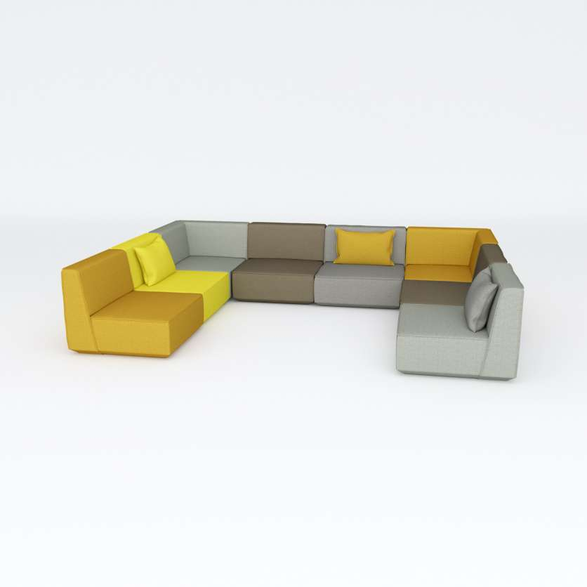 Sofa creating an ensemble with yellow and grey