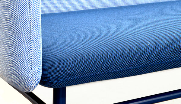 Longlasting fabric upholstery in blue