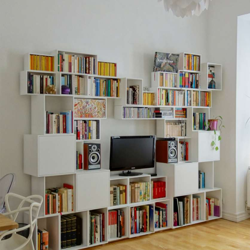 Home Office Bücherwand weiß