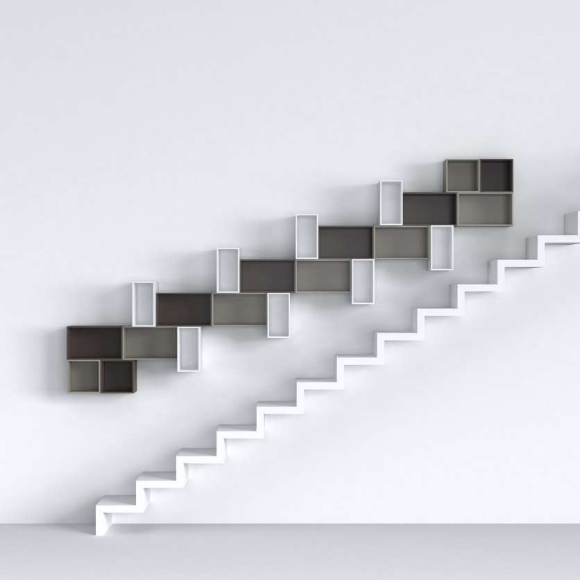Configurable wall-mounted shelving for installation above the staircase