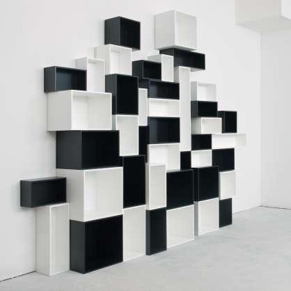 Étagère modulable au design moderne en cube noir et blanc