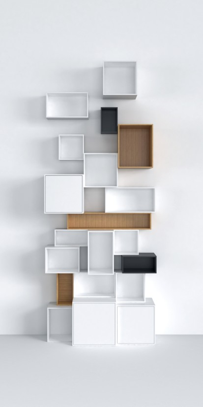 Simple and adjustable: stacked shelving