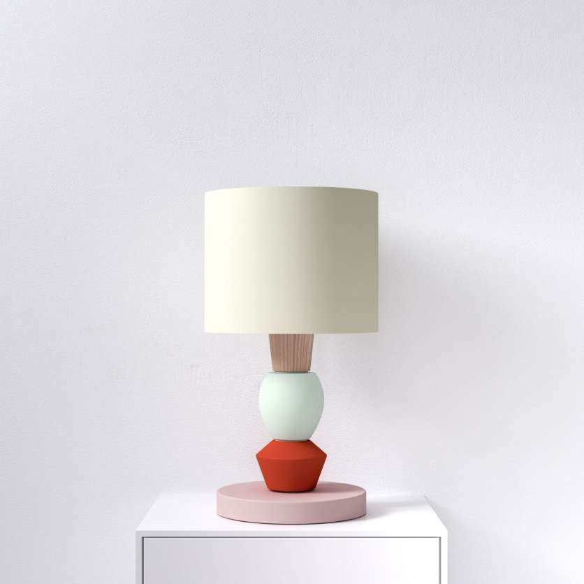 Modular table lamp with red accent