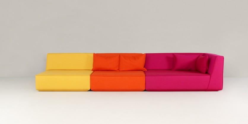 A sofa as a triad, harmoniously combining both colour and shape
