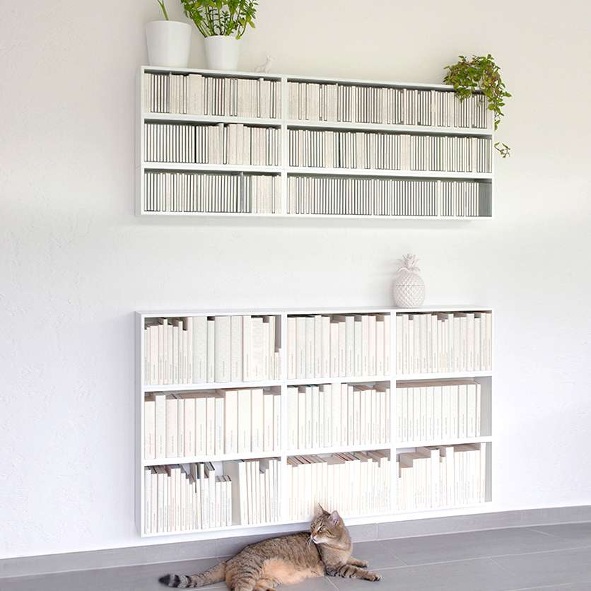 Wall-mounted shelving for CDs and pocket books in white