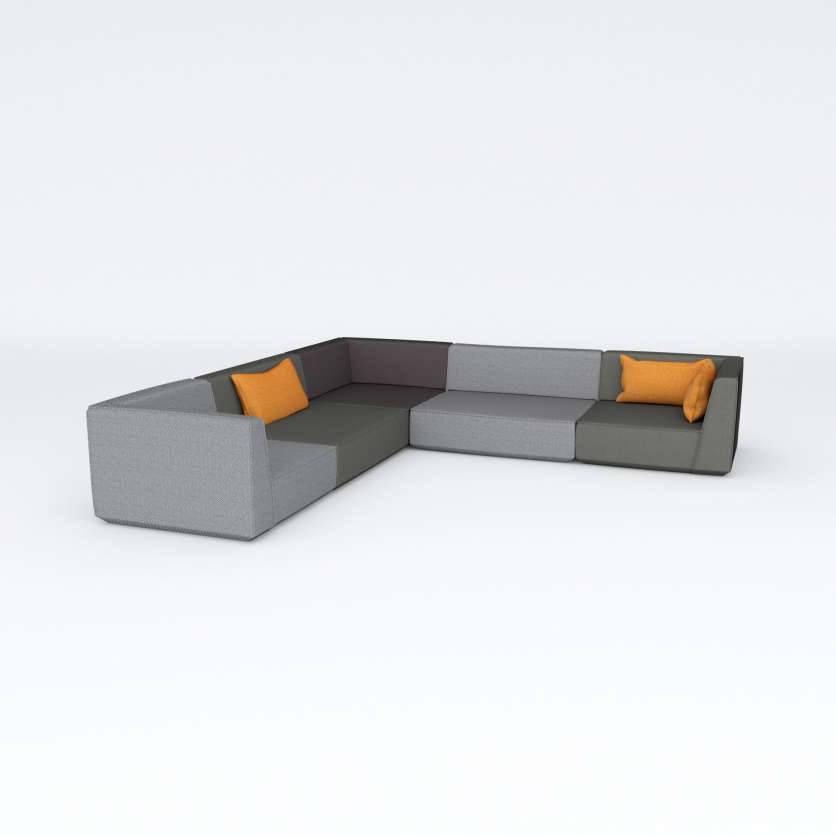 Streamlined, L-shaped corner sofa