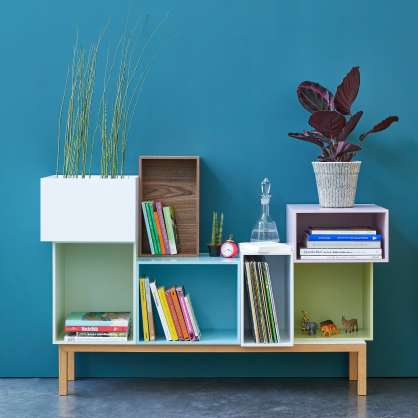 120cm wide sideboard with colourful cube shelving