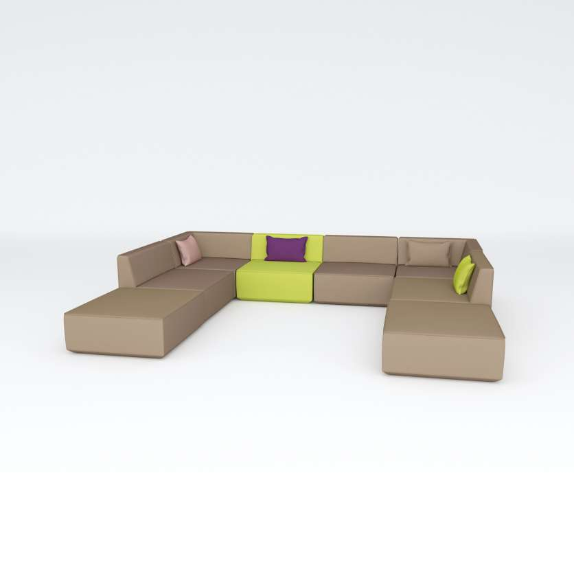 Sofa ensemble like modern architecture in muted colours