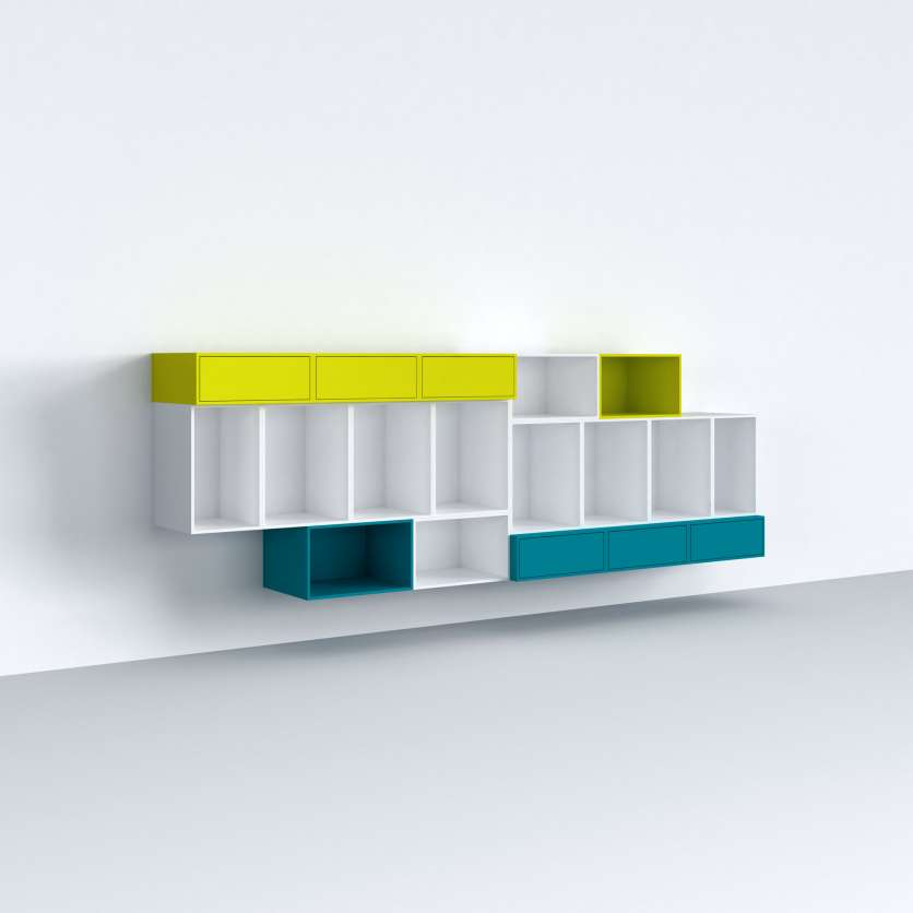 Wall-mounted sideboard in white with some coloured modules