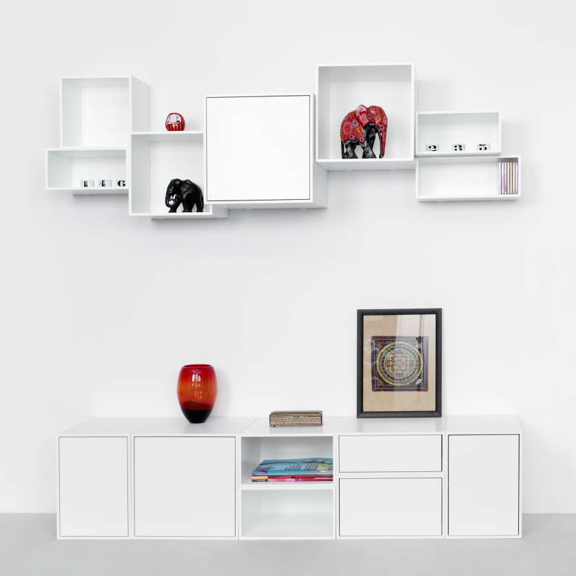 Combination of Wall-mounted shelving and low sideboard
